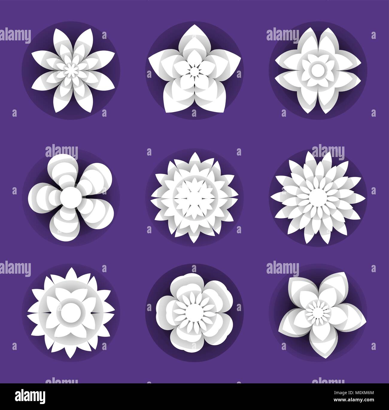Flowers paper cut background set. Floral collection 3d style, papercut. Elements for your design. Carving or origami - Stock Image