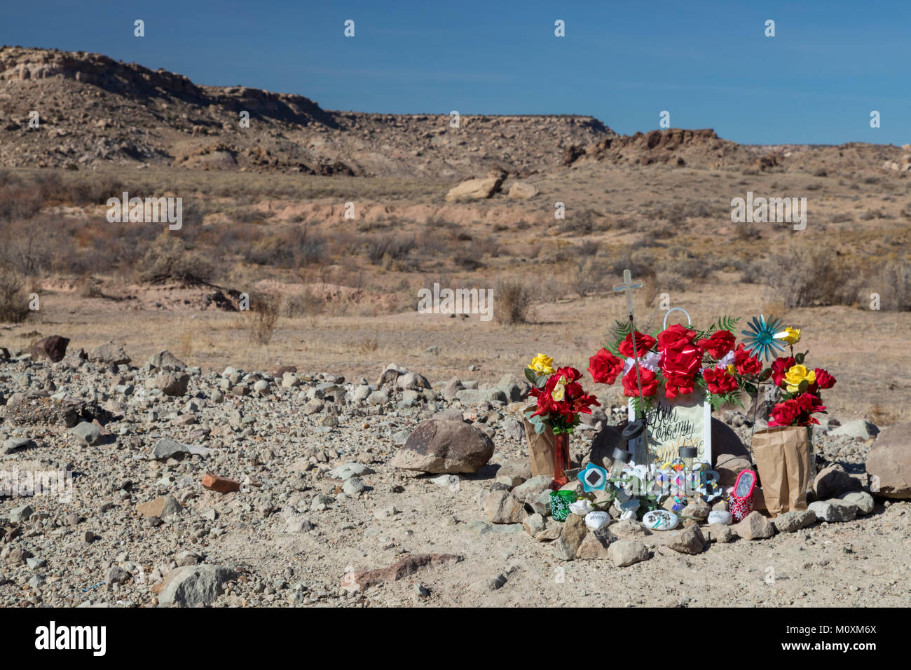 Aneth, Utah - A memorial on the Navajo Indian Reservation along a rural road. - Stock Image