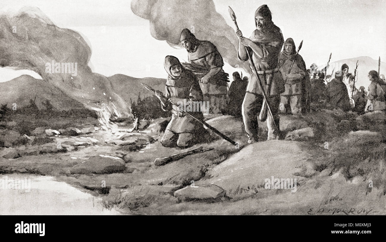 The Goths preparing the invasion into Thrace in 250 AD under their king Cniva, before The Battle of Abritus.  From - Stock Image