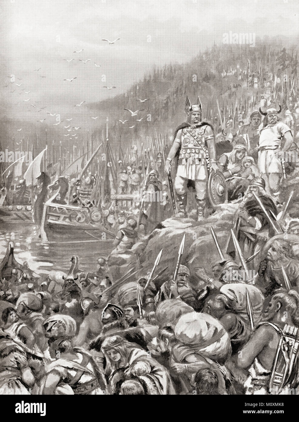 The embarkation of the Goths in 269 AD.  Three hundred thousand fighting men embarked from the banks of the river - Stock Image
