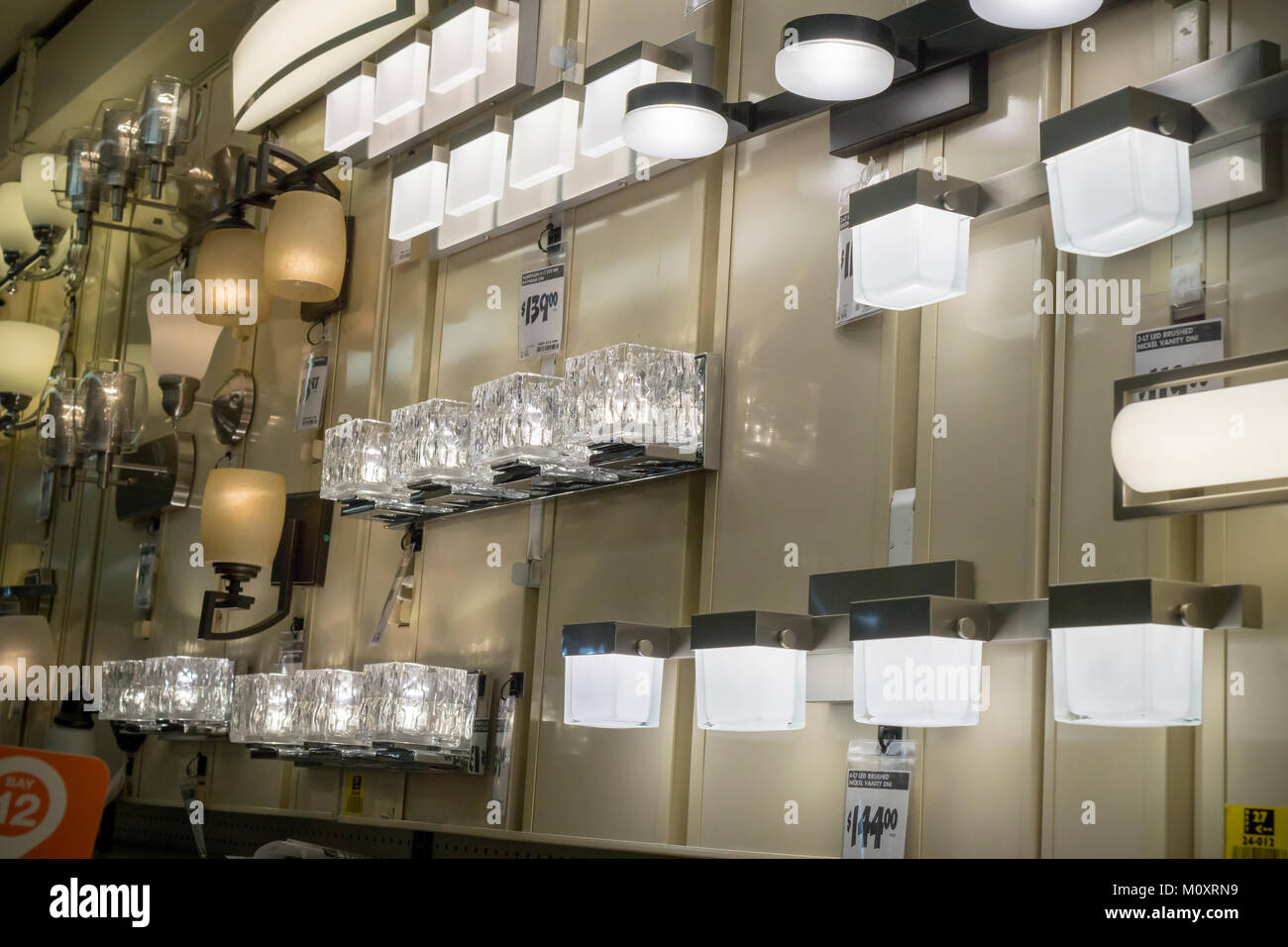 Lighting fixtures on display in a home depot store in the chelsea neighborhood of new york on thursday january 18 2018 the leading indicator of