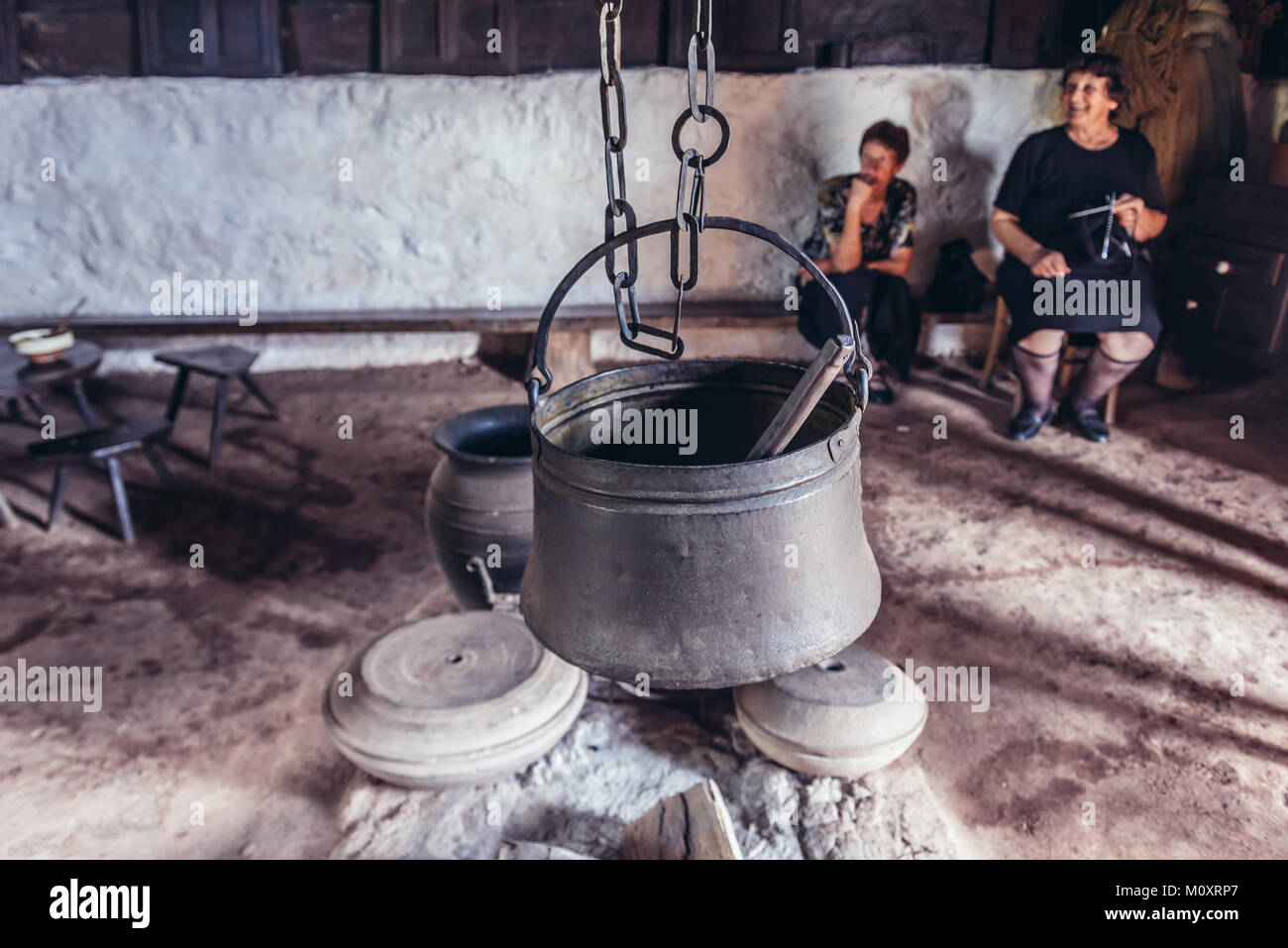 Interior of the traditional cottage in Ethnographic heritage park called Old Village Museum in Sirogojno village, - Stock Image