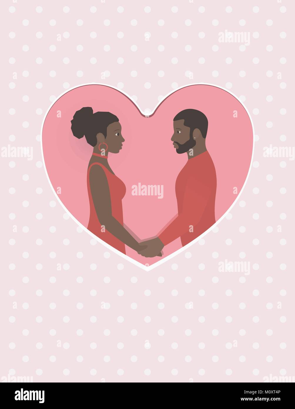 African female and male a couple in love, holding hands and looking into each other s eyes greeting card for Valentine - Stock Vector