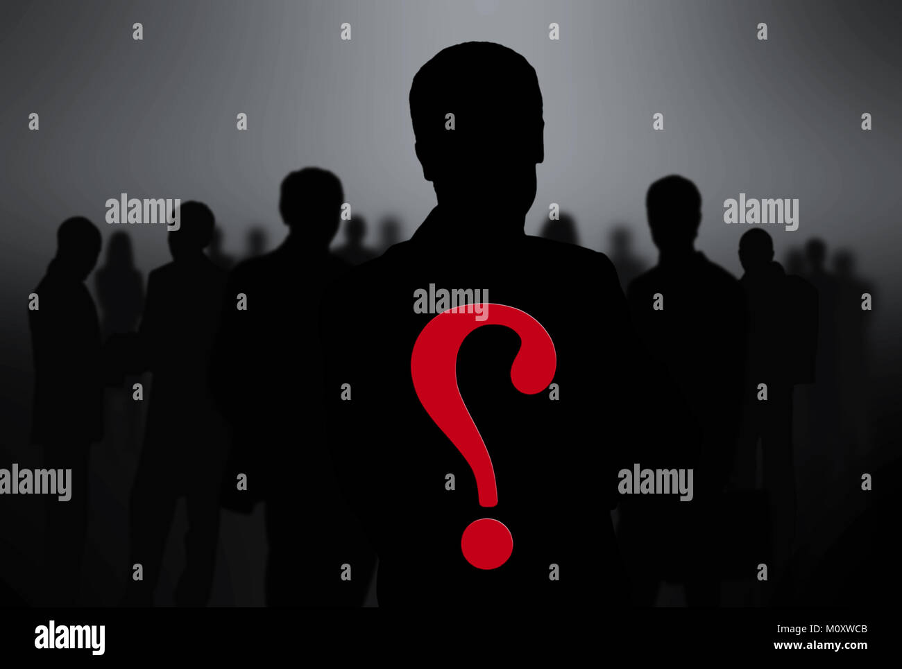 black silhouettes of business people. Stock Photo
