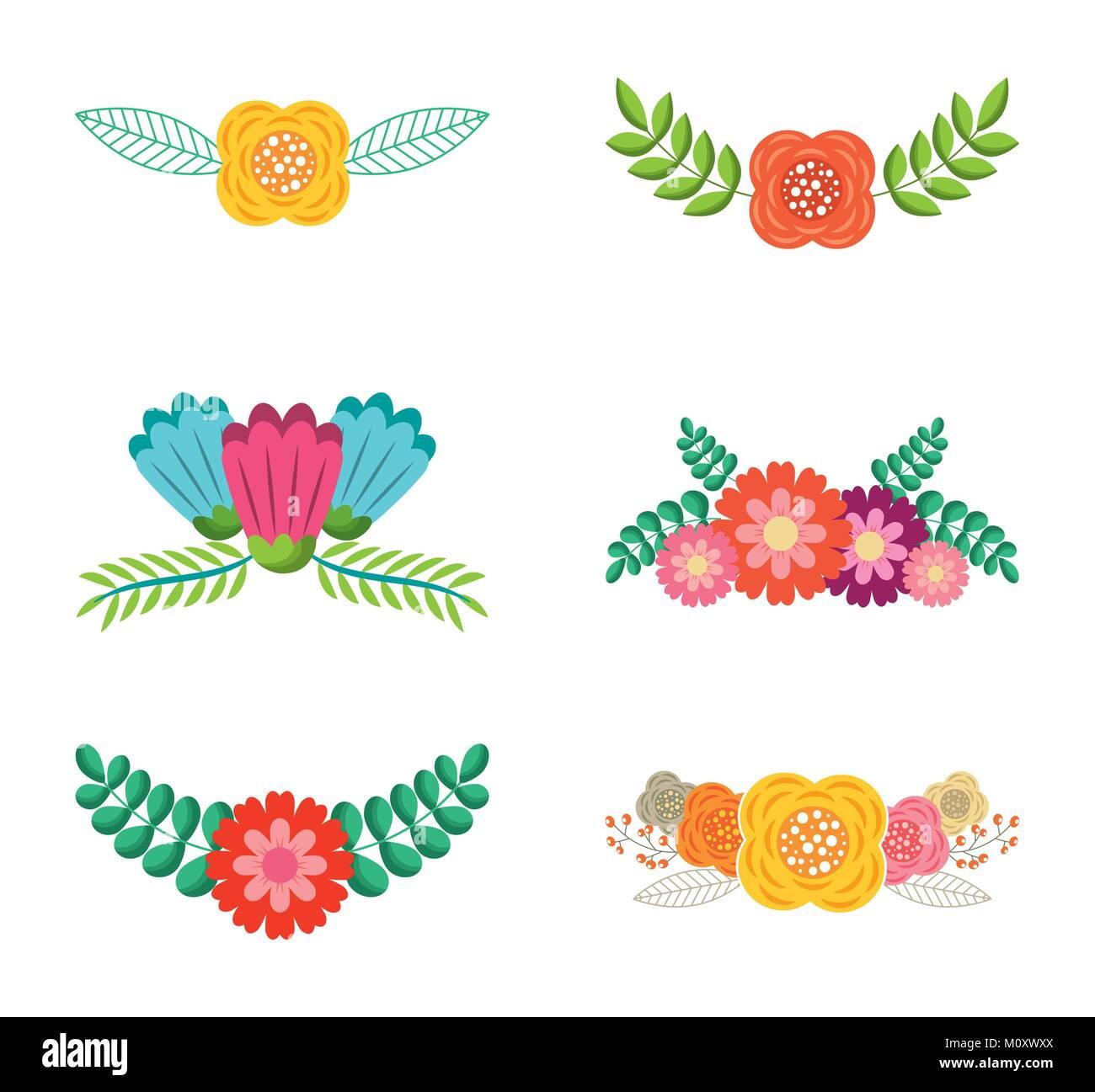 set of spring typographic badges floral labels - Stock Image
