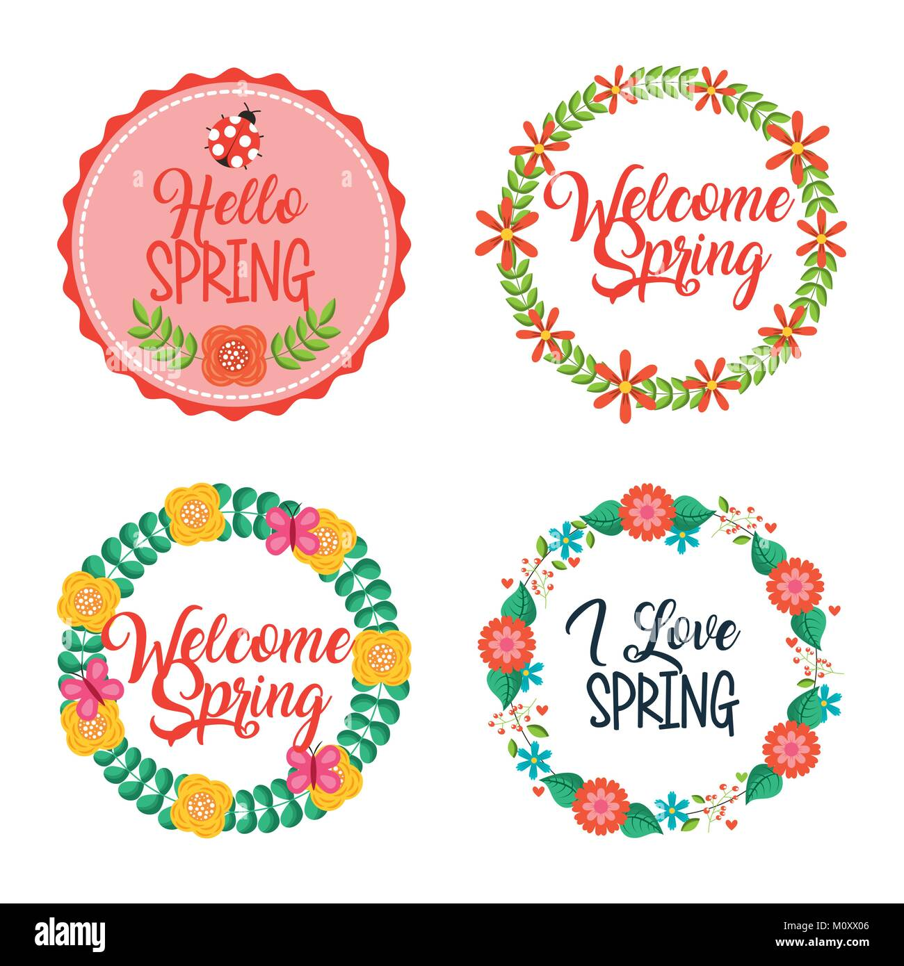 set of spring typographic wreath floral labels - Stock Image