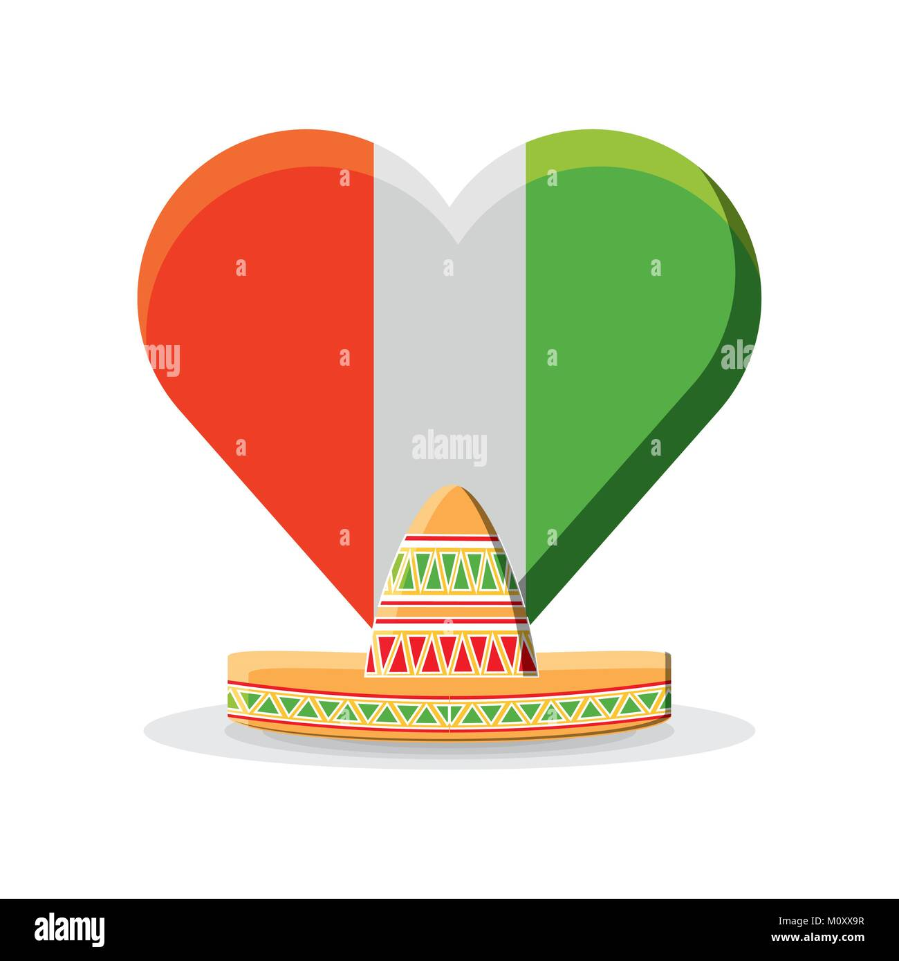 mexico flag in a heart shape  - Stock Image