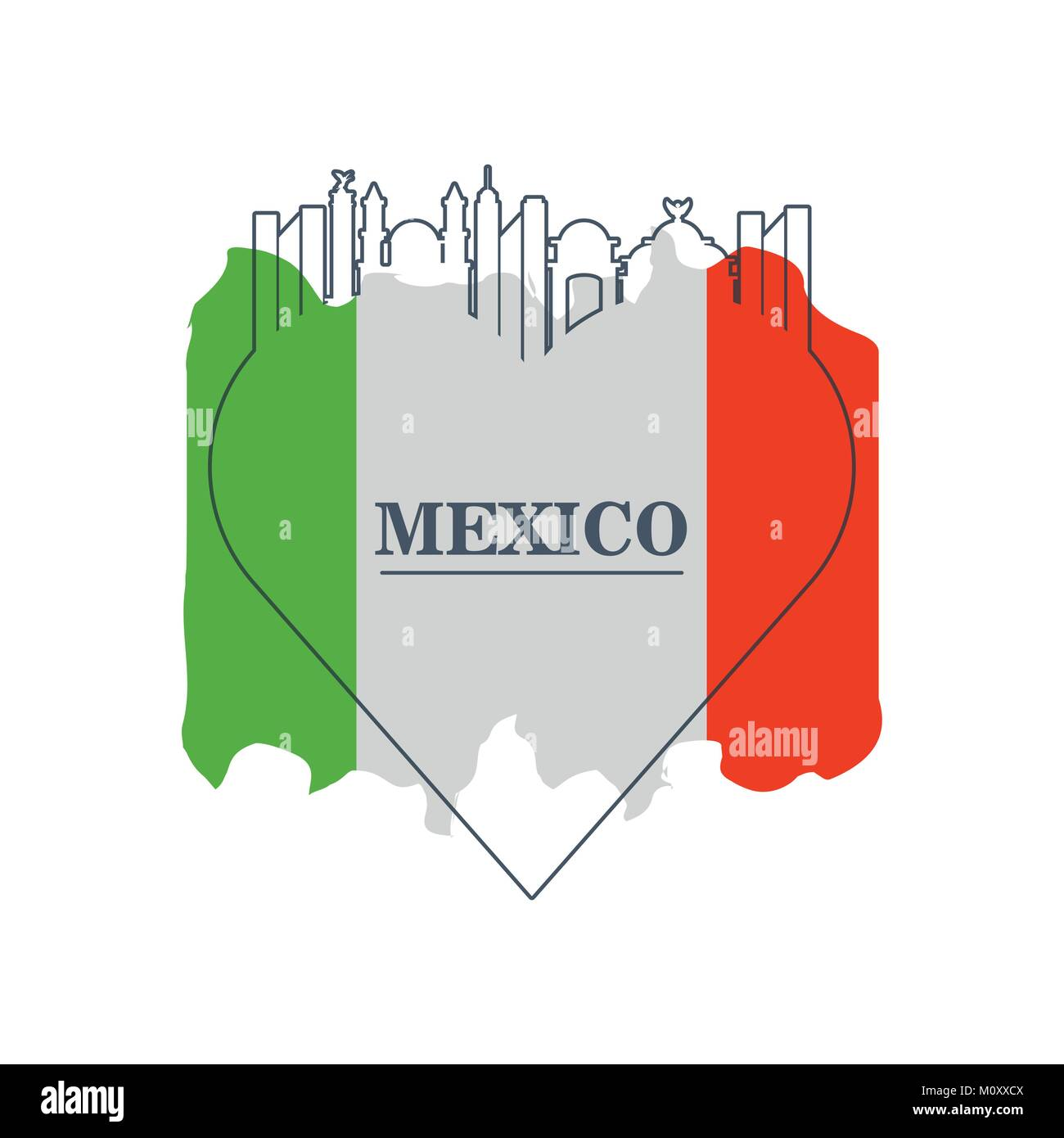mexico flag with traditional mexican symbol - Stock Image