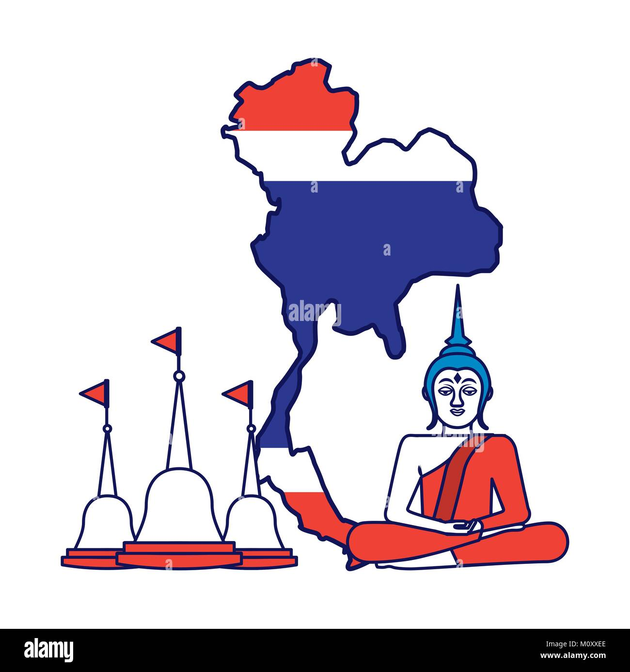 thailand concept buddha temple flag map - Stock Image