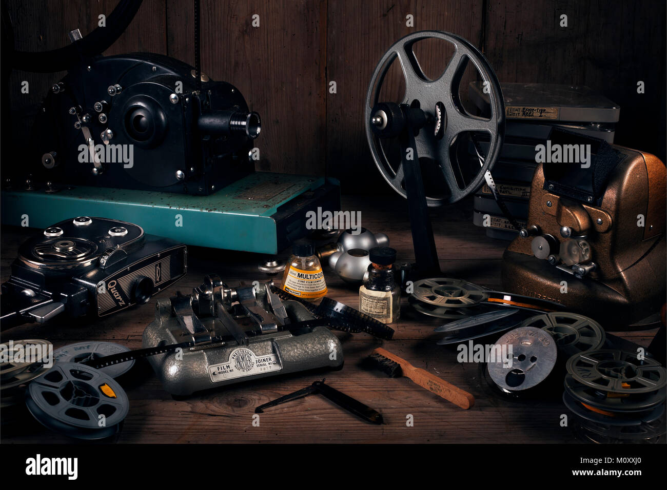 Still life Cine film equipment. Home cinema equipment from 1930s to 1950s. - Stock Image
