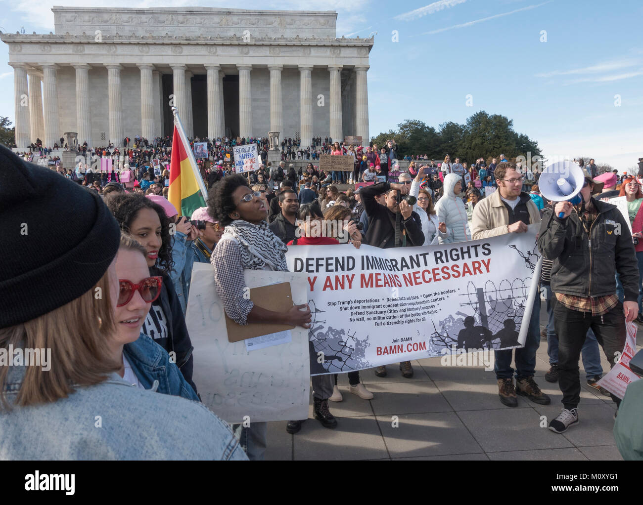 Immigrant Rights protesters at Women's March and Voter rally, Jan. 20, 2018. Lincoln Memorial group with BAMN - Stock Image