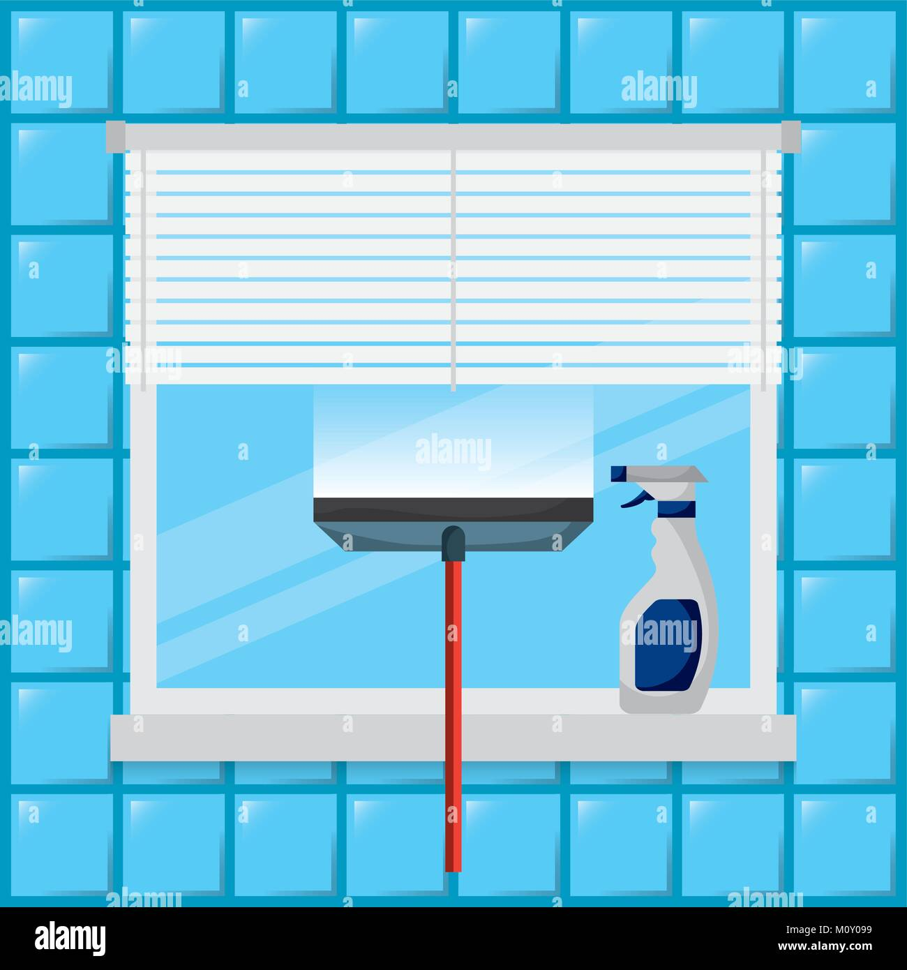 cleaning window tool squeegee spray bottle - Stock Vector