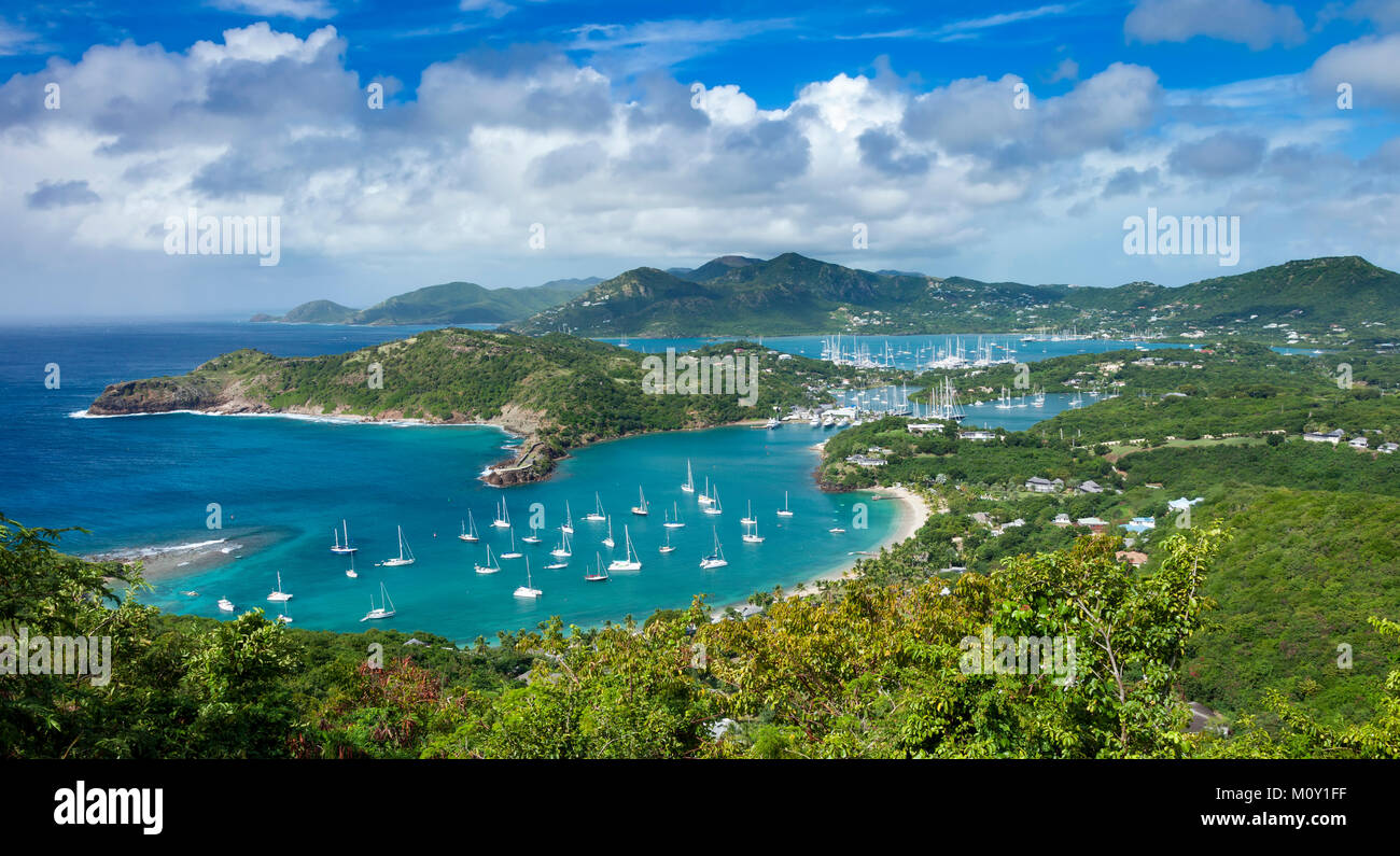 Lookout view from Shirley Heights over Admiral Nelson's Dockyards, Antigua, Leeward Islands, West Indies - Stock Image