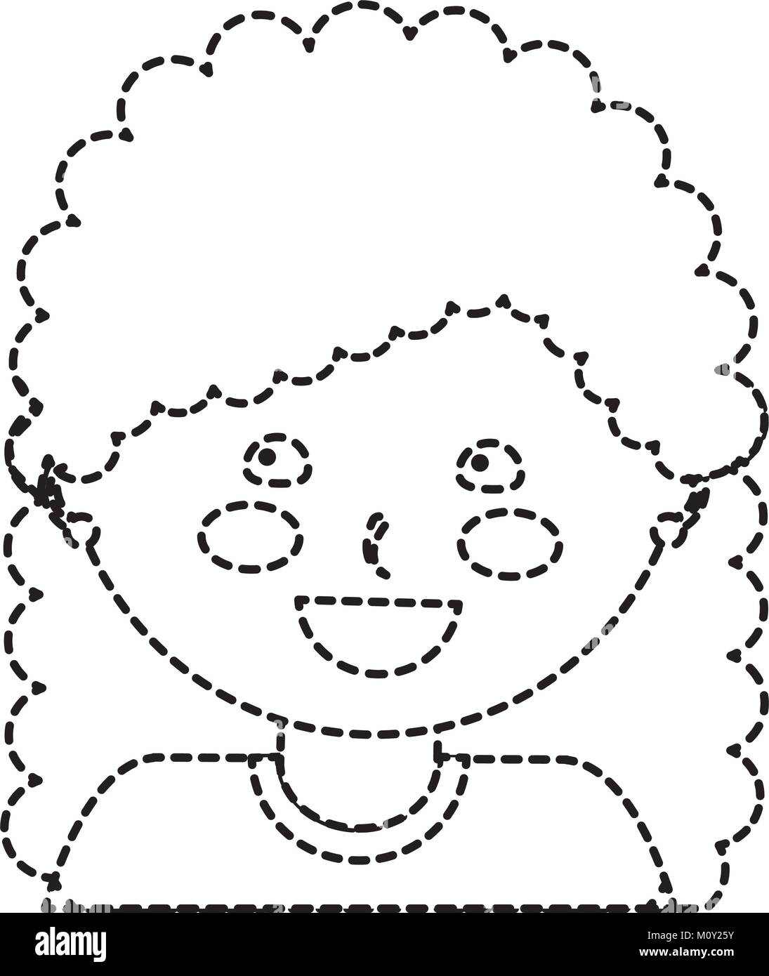 Happy Girl With Curly Hair Kid Child Icon Image