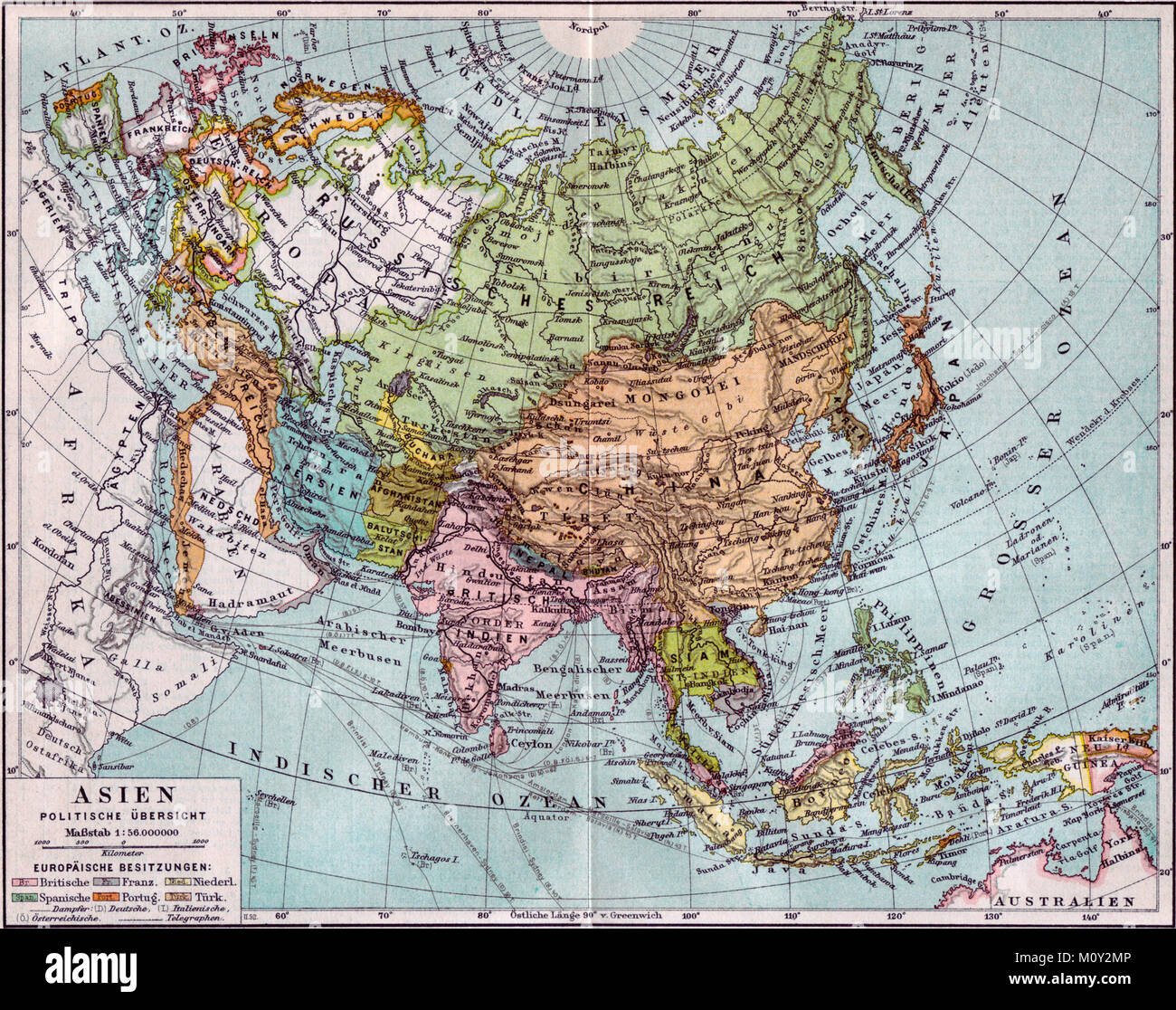Map Of Asia Political.Map Of Asia Political Overview Circa 1890 Stock Photo 172698534