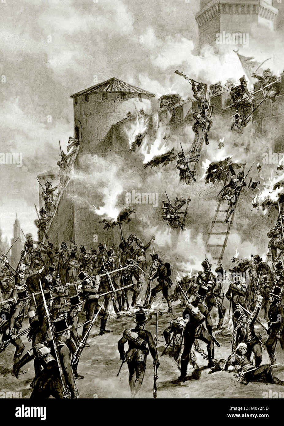 Taking the storm of the Ganja fortress on the 16th (4th) of January 1804 - Adolf Iosifovich Charlemagne 1892 - Stock Image