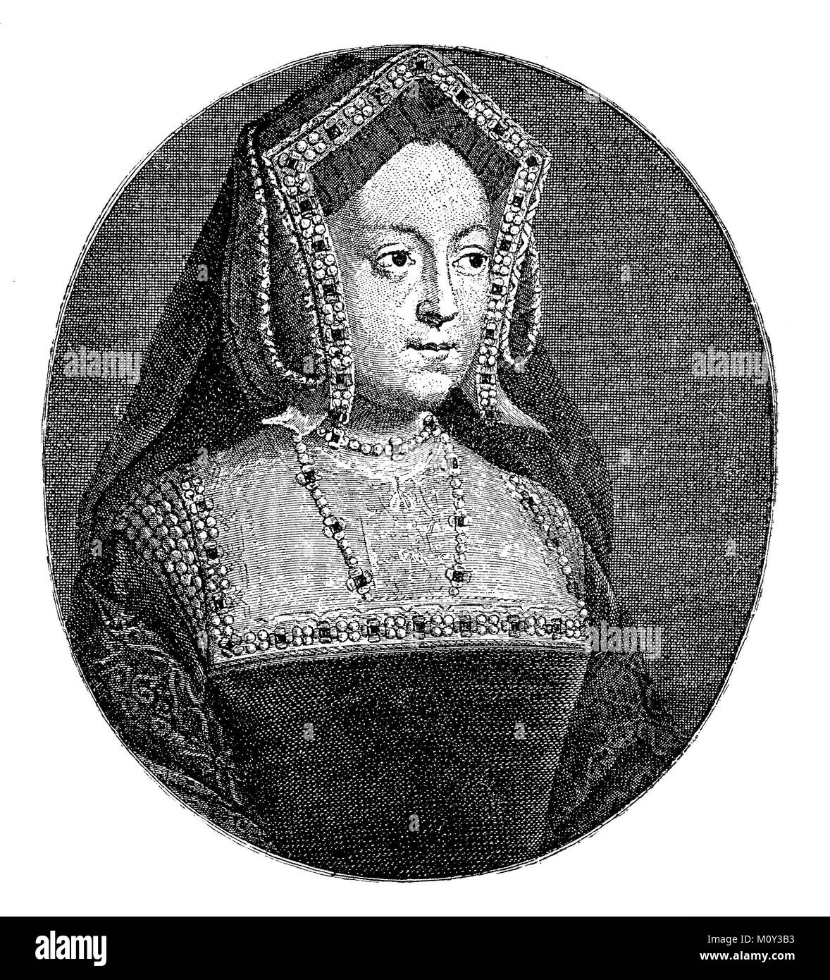 Portrait of Catherine of Aragon also Catherine of Aragon, 15 December 1485 - 7 January 1536, was the first wife - Stock Image