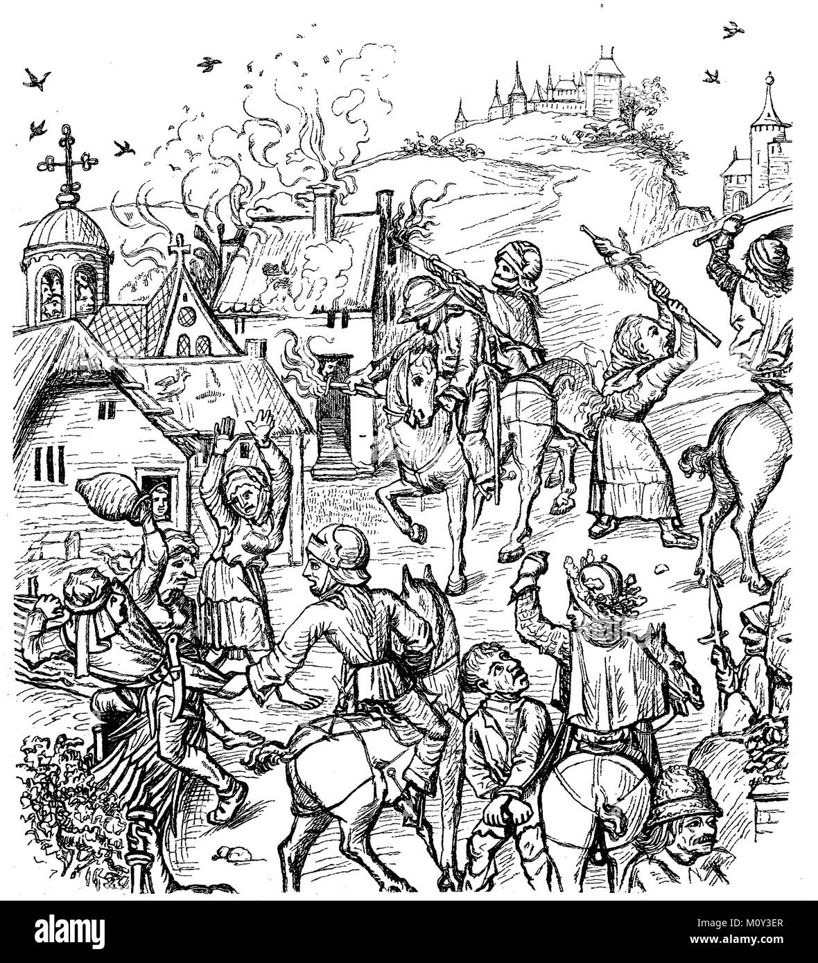 Plunder scenes during the Hussite Wars, a series of clashes and battles in the years 1419-1436, digital improved - Stock Image