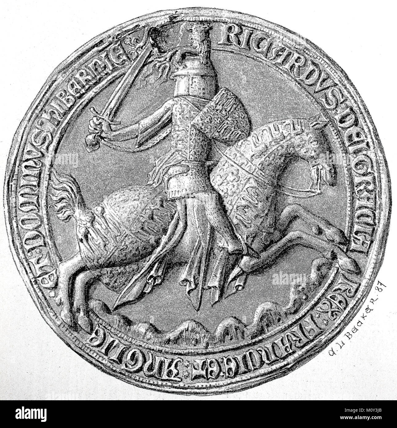 The seal of Richard II in the royal secret state archive to Berlin, Germany, digital improved file of a original - Stock Image