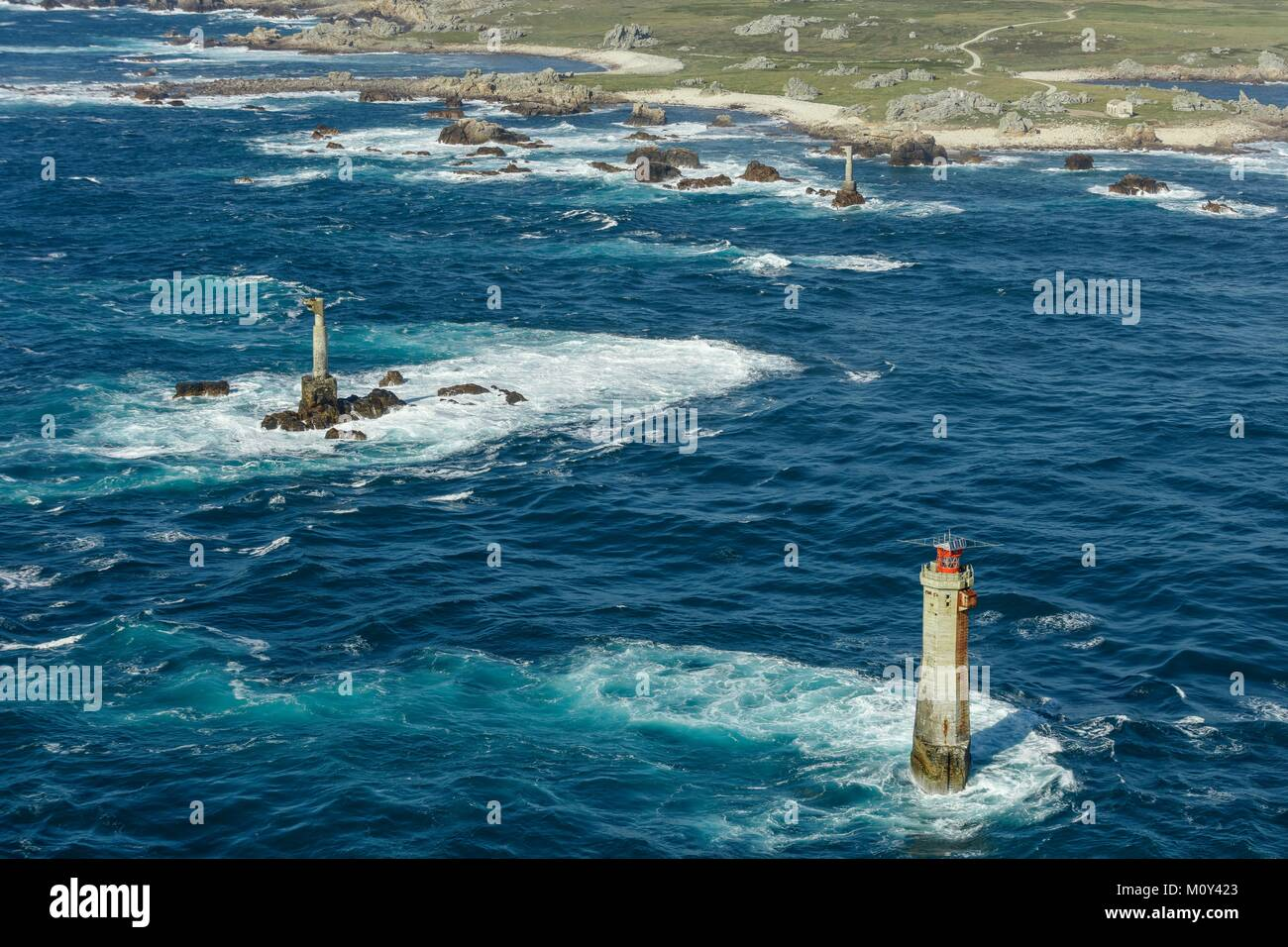 France,Finistere,Ouessant island,Nividic lighthouse (aerial view) - Stock Image