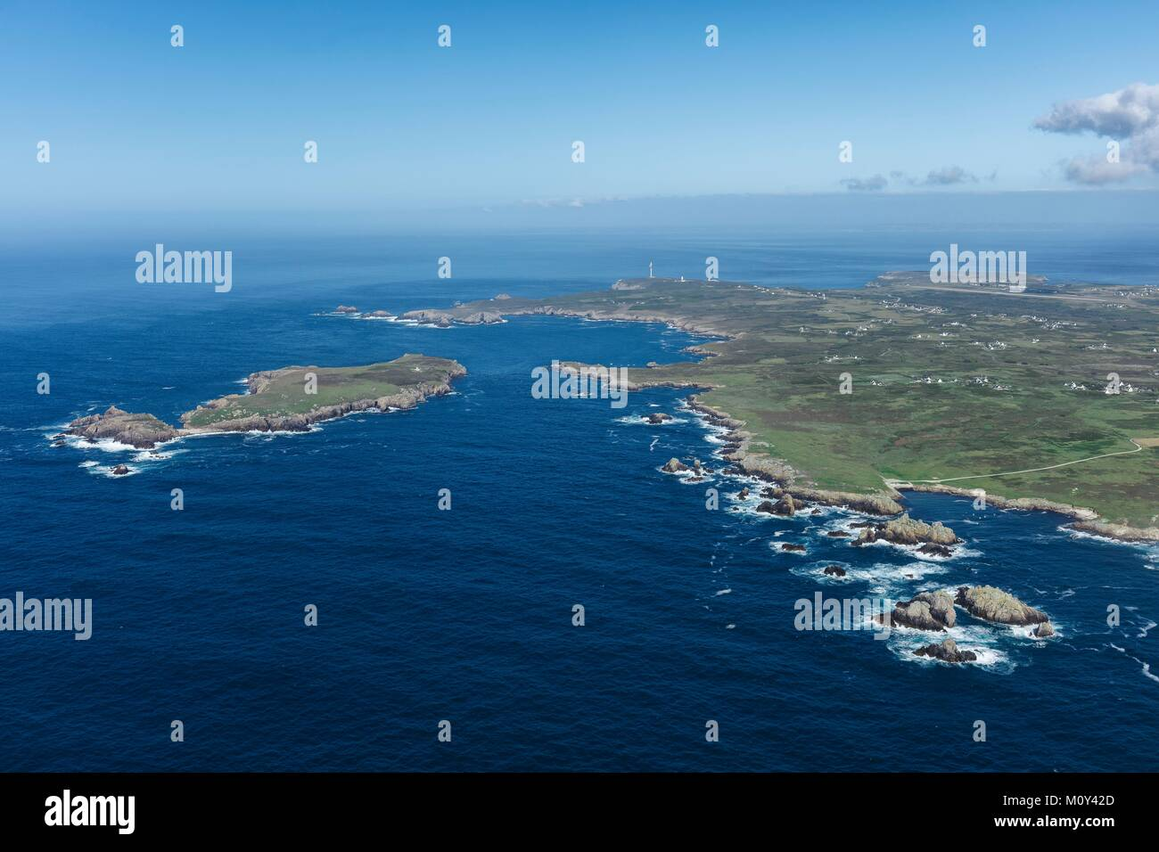 France,Finistere,Ouessant island,the north coast and Keller island (aerial view) - Stock Image