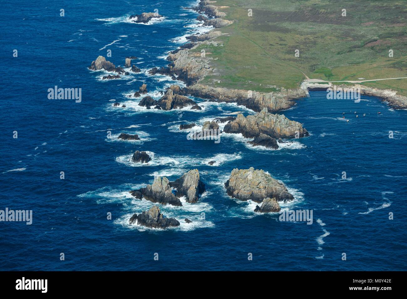 France,Finistere,Ouessant island,Yuzin beach and rocky coast (aerial view) - Stock Image