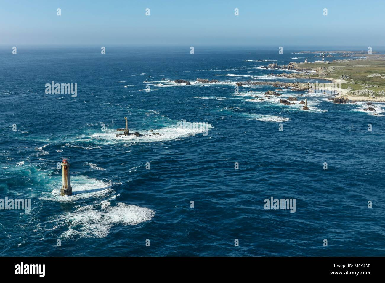 France,Finistere,Ouessant island,Nividic lighthouse before Pointe de Pern (aerial view) - Stock Image