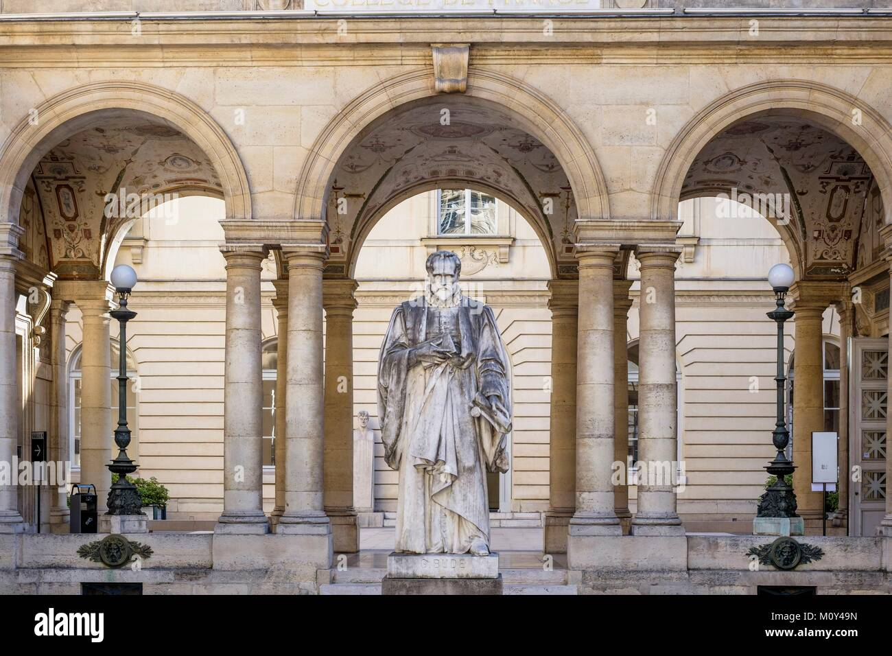 France,Paris,Quartier Latin,Saint-Jacques street,the College de France,founded in 1530,is a renowned higher education - Stock Image