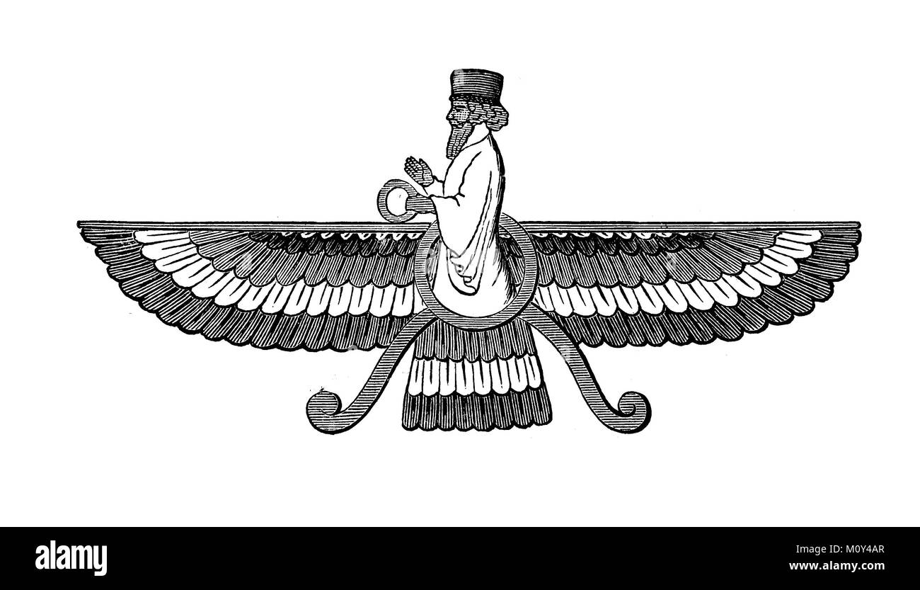 Ahuramazda also Ahura Mazda means the wise lord or lord of wisdom, in Middle Persian Ormusd, Ormozd or Ormus, in - Stock Image