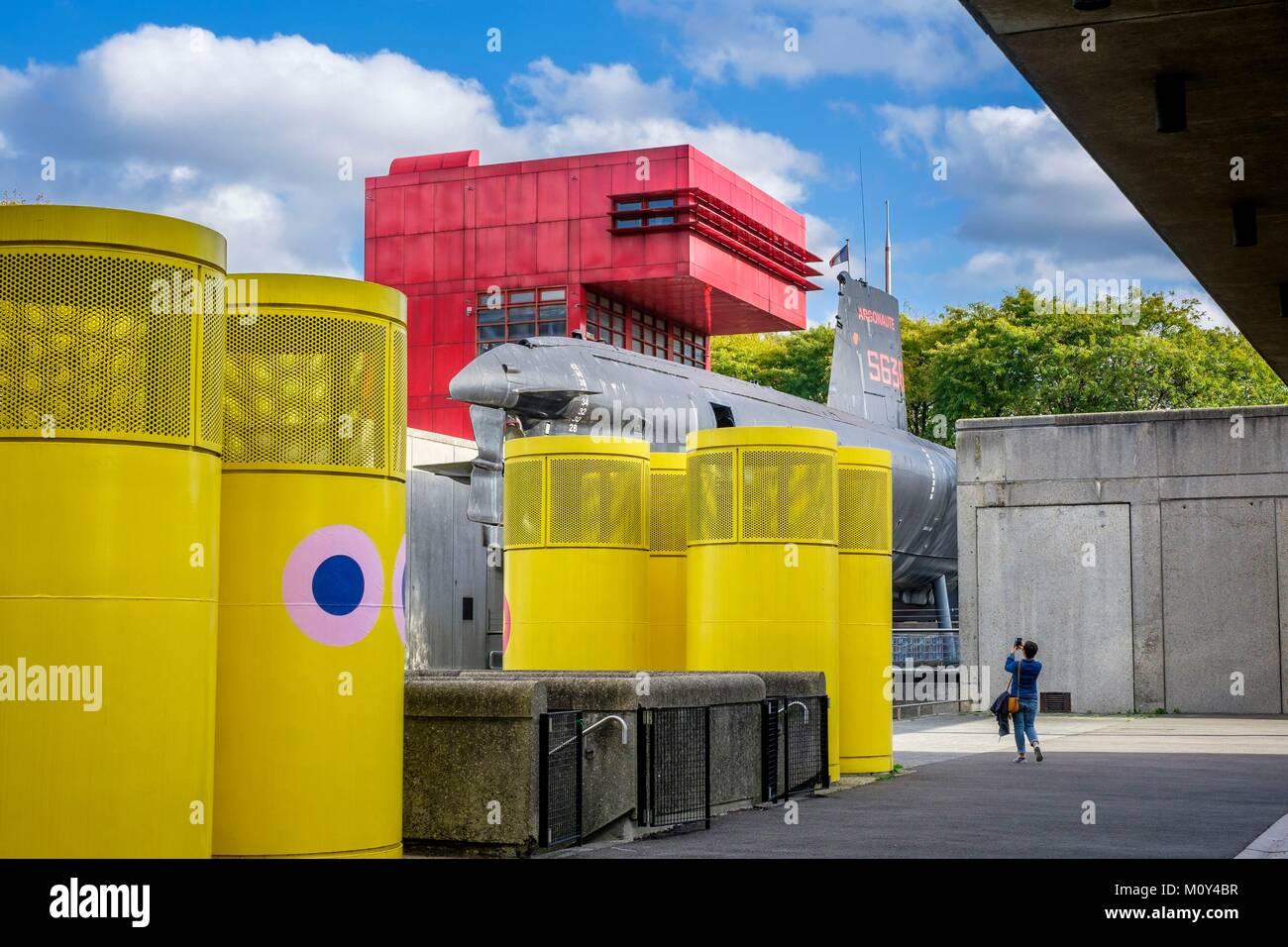 France,Paris,La Villette Park,the Argonaute submarine of the French Navy - Stock Image
