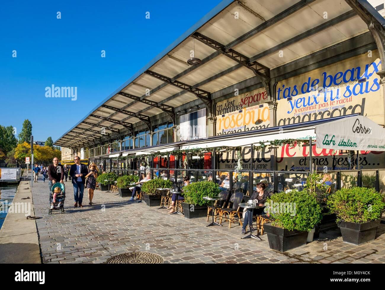 Terrasse Canal Saint Martin france,paris,café terraces along la villette basin,the