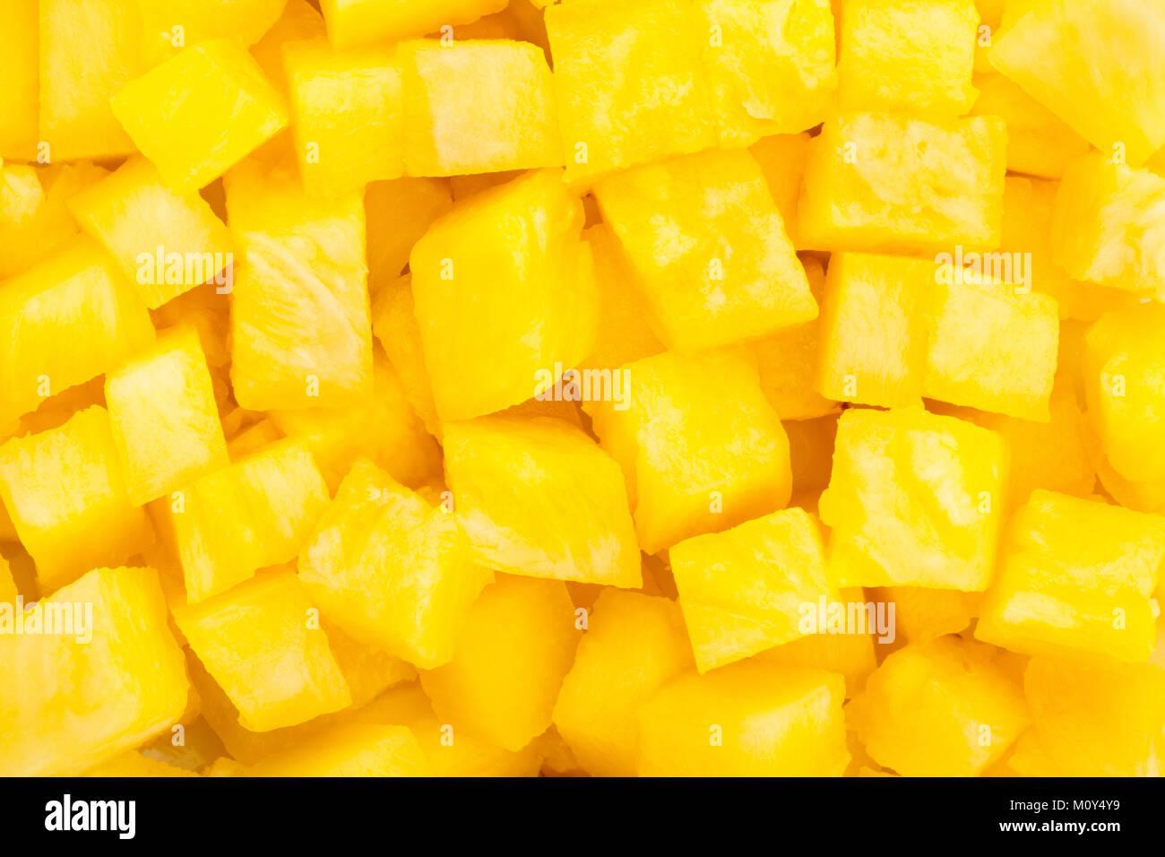 sliced pineapple texture closeup - Stock Image