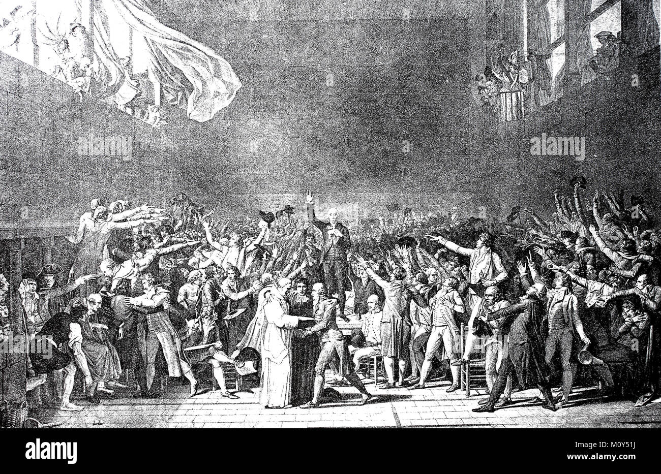 The oath in the ballroom of June 20, 1789, Bailly reads out the oath that the members of the Third Estate of the - Stock Image