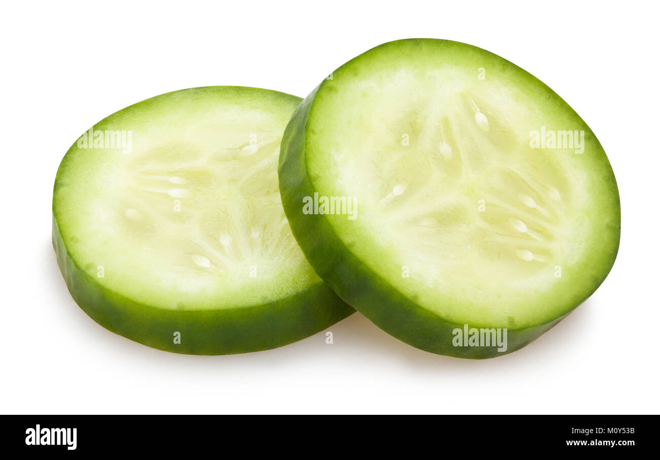 sliced cucumber path isolated - Stock Image