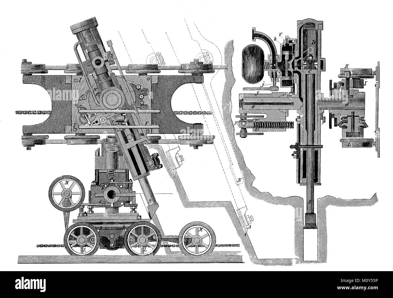 Construction of an improved machine that processes coal and ore, digital improved file of a original print of the Stock Photo