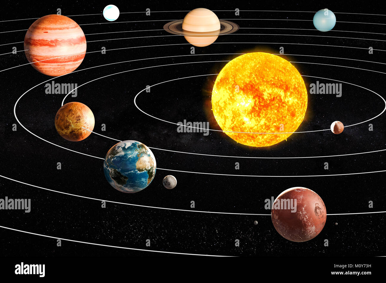 Planets of the solar system, 3D rendering Stock Photo ...