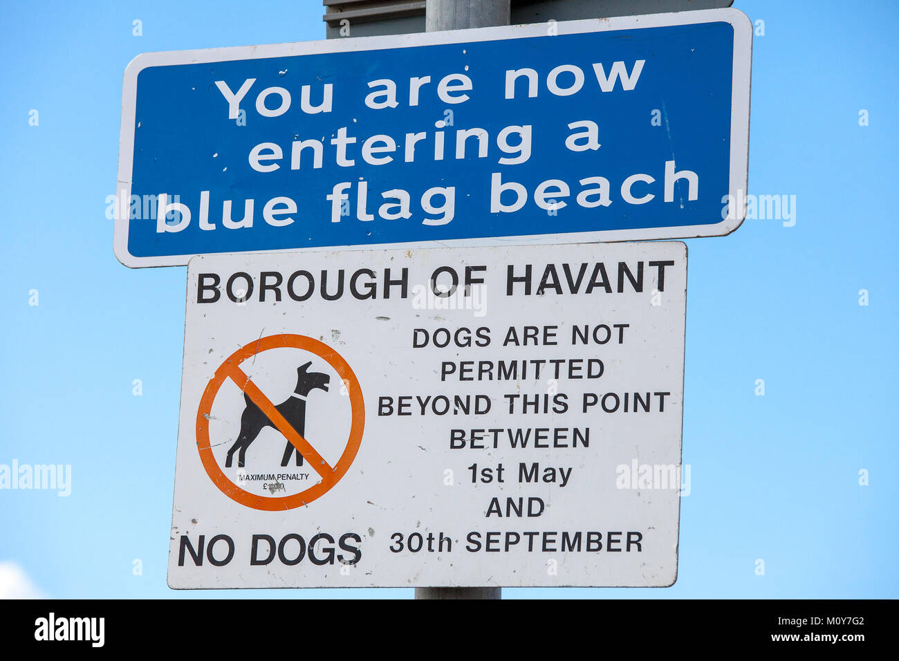 You are now entering a blue flag beach sign and a dogs are not permitted         beyond this point between 1st May - Stock Image