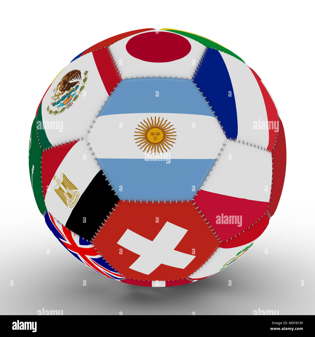 Soccer ball with the color flags of the countries participating in the Cup, in the middle of Argentina, 3d rendering Stock Photo