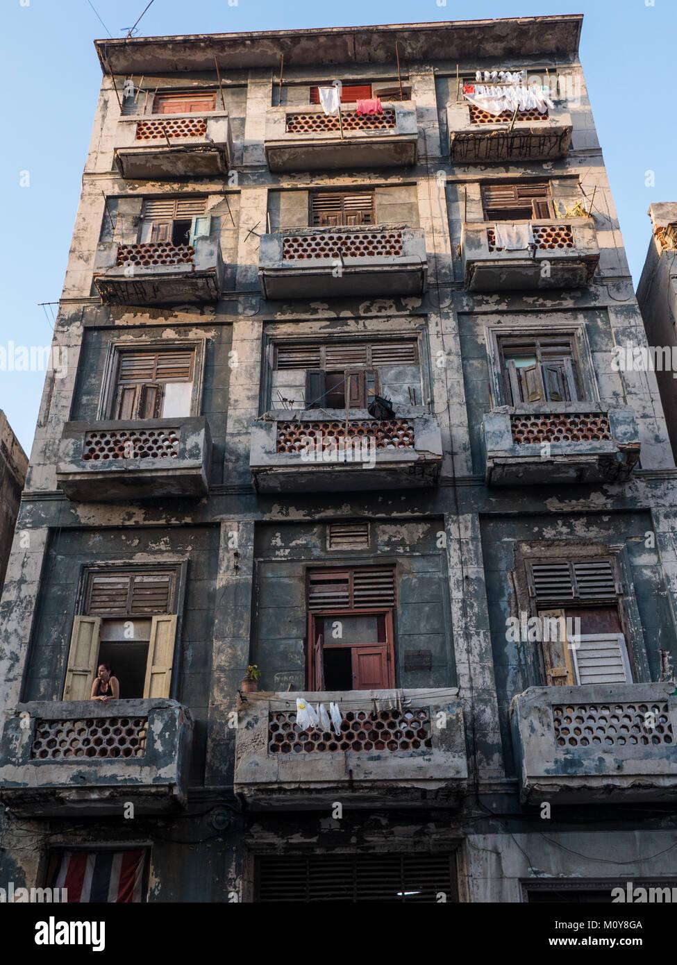 Decrepit soviet style building in Havana, Cuba - Stock Image