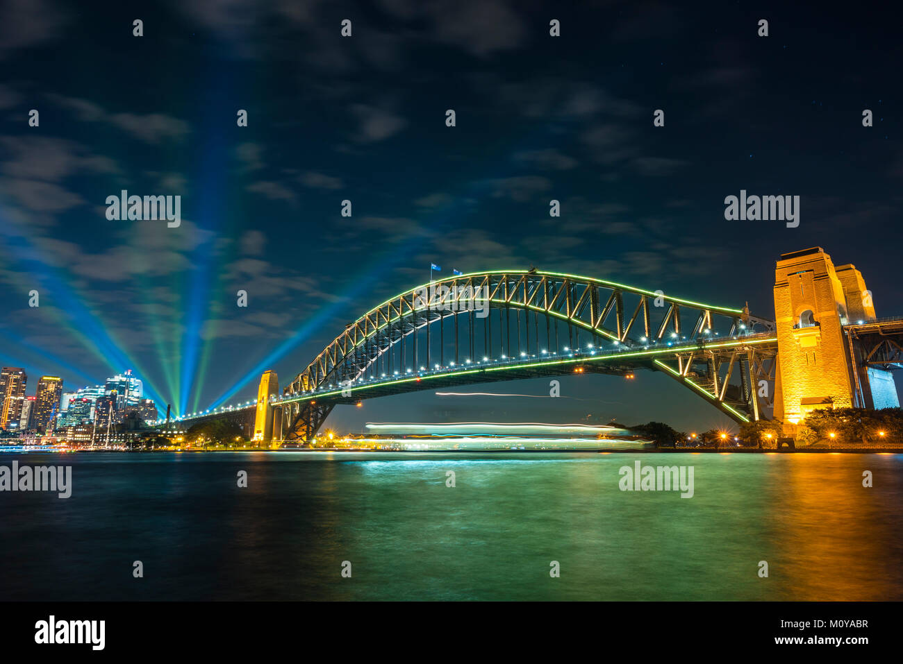 Sydney Harbour Bridge at night - Stock Image