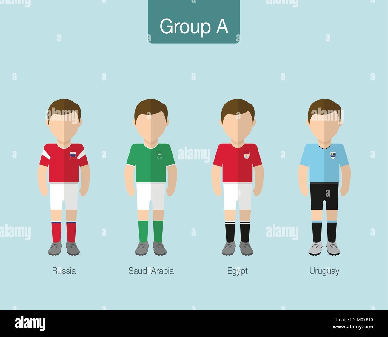 ddc601146ce 2018 Soccer or football team uniform. Group A with RUSSIA, SAUDI ARABIA,  EGYPT, URUGUAY. Flat design. Vector illustration.