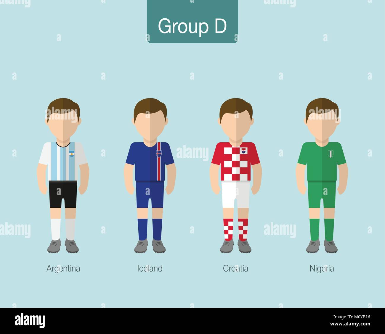 2018 Soccer or football team uniform. Group D with ARGENTINA, ICELAND, CROATIA, NIGERIA. Flat design. - Stock Vector