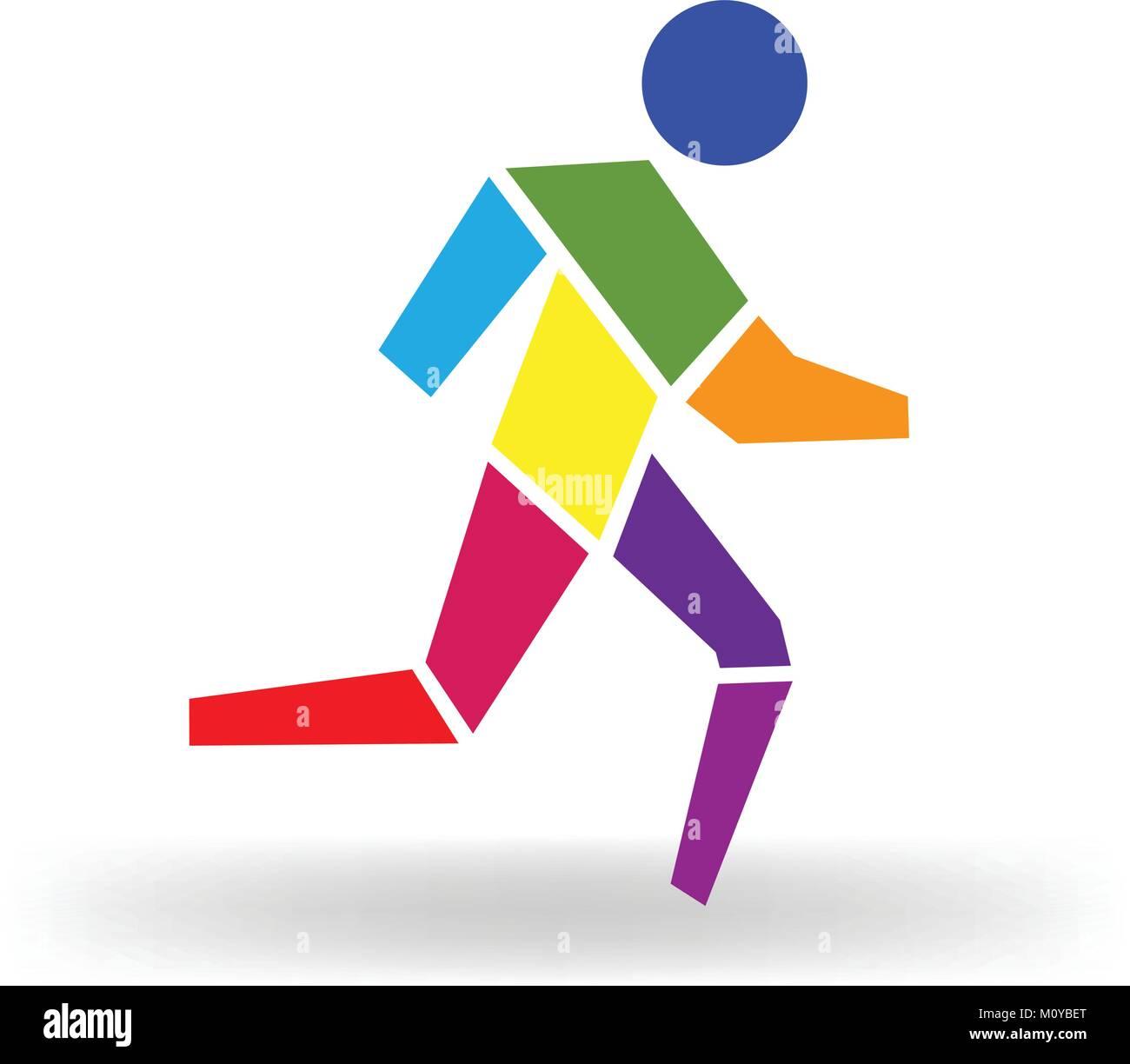 Sport man colorful icon figure logo vector Stock Vector