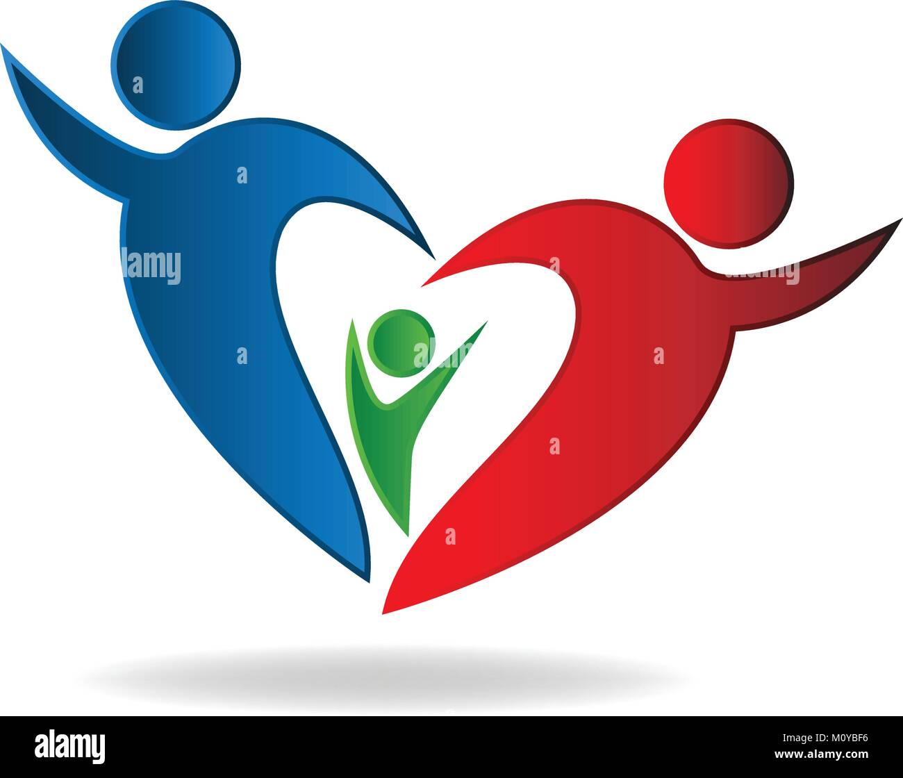 Family heart logo vector - Stock Vector