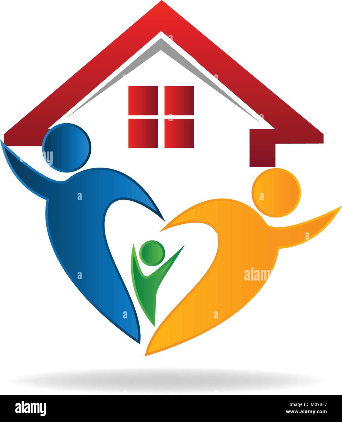 House and happy family logo - Stock Vector