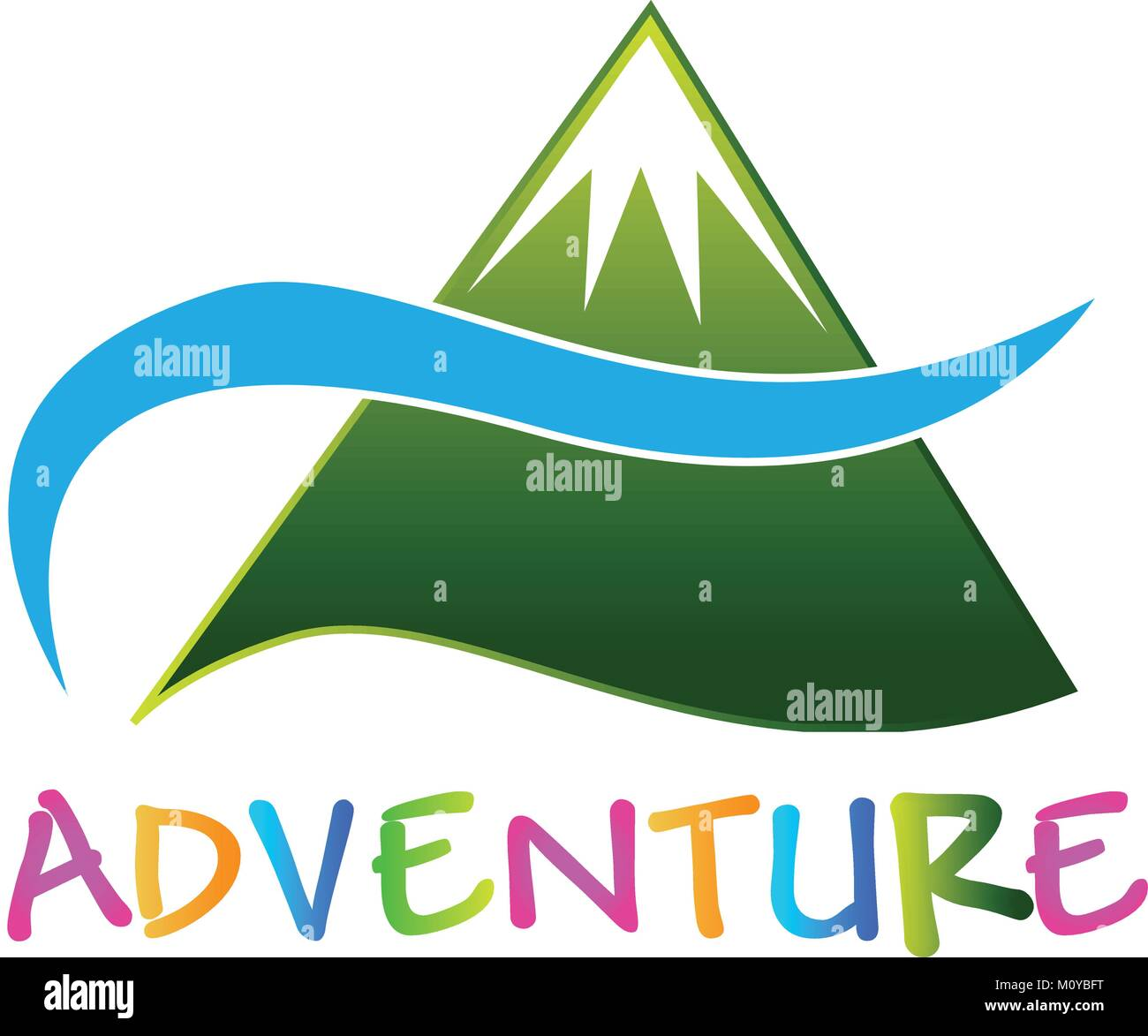 Adventure green mountain logo vector image - Stock Vector