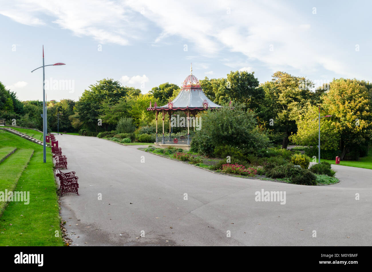 A North Facing View of the Terrace and Bandstand in South Marine Park, South Tyneside Stock Photo