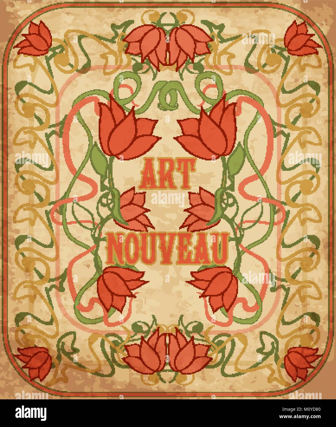Floral wallpaper in art nouveau style, vector illustration Stock ...