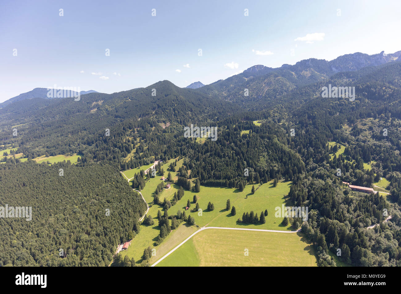 Areal View of countryside around Berghausstraße 87645 Schwangau, Germany - Stock Image