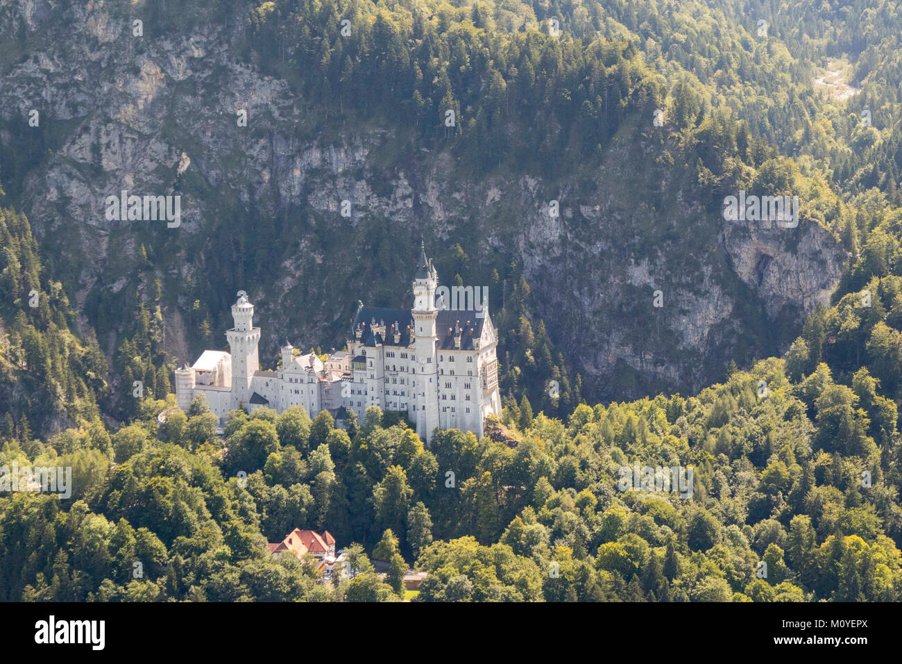 Aerial view of Neuschwanstein Castle, Bavaria, Germany - Stock Image